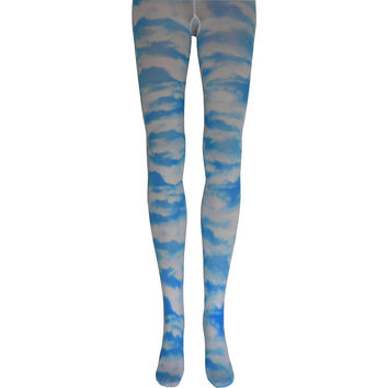 Clouds Tights in White and Blue
