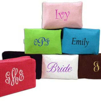 4 Monogram Cosmetic Bags Personalized Custom Embroidery Wedding Party Gifts Bride, Maid Of Honor, Bridesmaids Gift