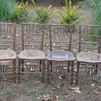 Four Hollywood Regency Faux Bamboo Chairs Gold Caned Seat Vintage Chiavari Style Panchosporch