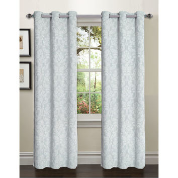 Window Elements Elinor Linen Blend Jacquard Grommet Curtain Panels (Set of 2)