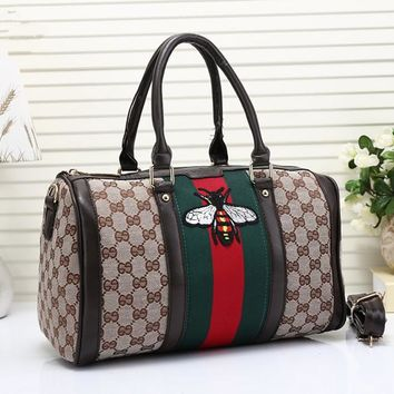 """Gucci"" Classic Fashion Multicolor Bee Embroidery Canvas Boston Pillow Handbag Women Single Shoulder Messenger Bag"
