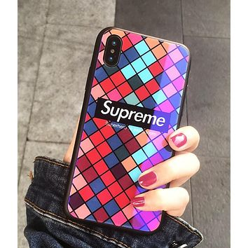 Supreme Trending Stylish Glass iPhone Phone Cover Case For Iphone X phone Shell 7s Iphone 8plus All-Inclusive Shell I12069-1