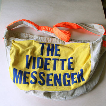 VINTAGE NEON YELLOW Newspaper Delivery Bag // by ACESFINDSVINTAGE