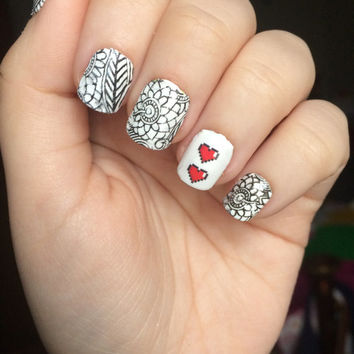 Pixelated Hearts Nail Decals, Temporary Tattoo Nail Decals, Pixelated Heart Decals, Nail Art, Children's Nail Art,  Retro Nail Art