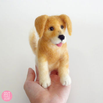 MADE TO ORDER - Needle Felted Sculptures - Lovely Dog - Miniature Wool Felt Dog