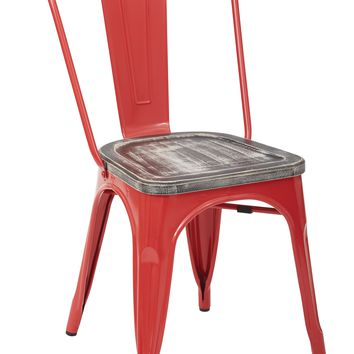 Office Star Red/Crazy Horse Bristow Metal Chair with Vintage Wood Seat (Set of 4)