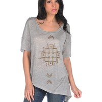 Lucca Couture Asymetrical Pipe Embellishment Top - Heather
