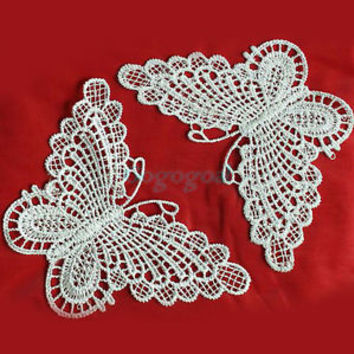 10x Handmade Floral Lace Butterflies Applique Patch sewing Craft Trim Dress DIY