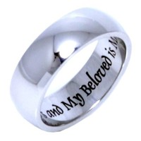 I am my beloved's and beloved's is Mine - Stainless steel jewelry - Stainless steel rings for women / men / ladies or girls. Promise ring / Wedding Band / Wedding Ring / Poesy ring. SIZE 9