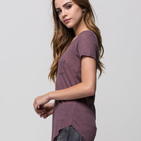 Full Tilt Womens Ribbed Pocket Tee Purple  In Sizes