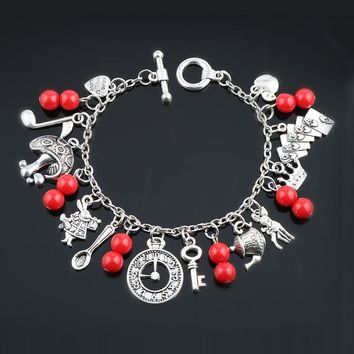 MQCHUN Alice In Wonderland Silvertone Metal Charm Bracelet With Coloured Beads Gift Birthday Chrstmas Mad Hatter Themed