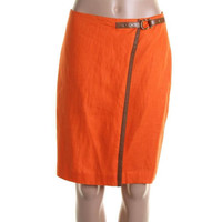 Lauren Ralph Lauren Womens Linen Knee-Length Wrap Skirt