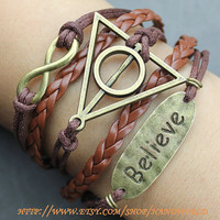 bronze believe bracelet,infinity bracelet,harry potter deathly hallows bracelet, brown leather bracelet, gift for friends,lover.-N726