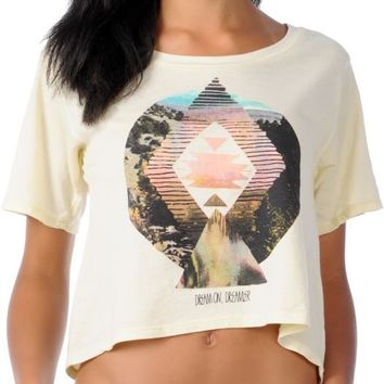 Glamour Kills Girls Dream On Dreamer Cream Slouchy Crop Top at Zumiez : PDP