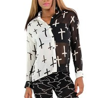 Night and Day Cross Button up Top