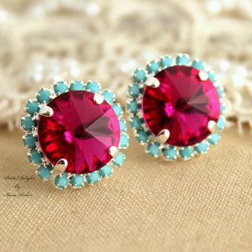 Pink turquoise Stud earrings Rhinestones Crystal big pink - Silver plated post pink turquoise mint earrings real swarovski rhinestones.