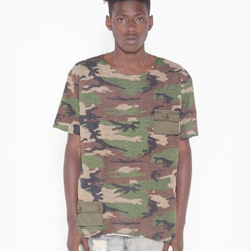 Cargo Pocket Tee in Faded Woodland Camo