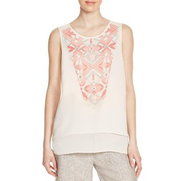 Nic + Zoe Womens Penny Embroidered Sleeveless Pullover Top