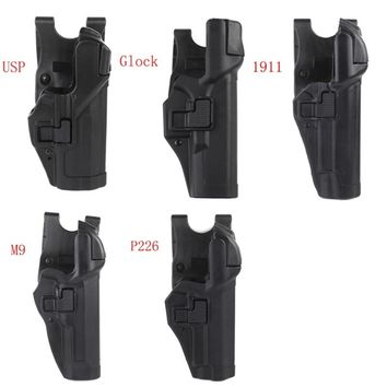 Tactical Level 3  Lock Right Hand Waist Belt Pistol Holster for M9/Glock/Colt 1911/M&P 9mm/ P226 series gun model