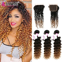 SAY ME Deep Wave Bundles With Closure Ombre Brazilian Human Hair 3 Bundles With Closure 1B/4/27 Blonde Ombre Hair Weave Non Remy
