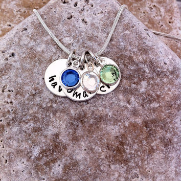SALE! For Mother's Day - Personalized Mommy Necklace - Small Circle(s) and Birthstone(s)- Hand Stamped