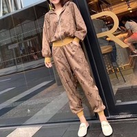 """LOUIS VUITTON"" Woman's Leisure Fashion Letter Personality Printing Zipper Spell Color Long  Sleeve Tops Trousers Two-Piece Set Casual Wear"