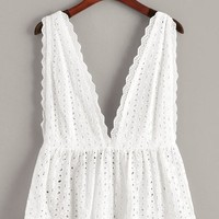 Eyelet Embroidery Deep V Neck Backless Top