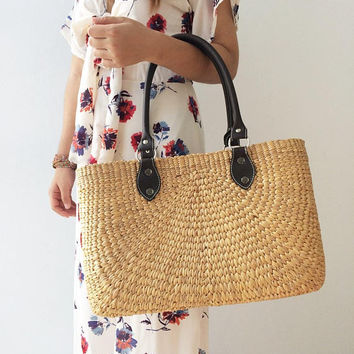 Bridesmaids Totes / Bridesmaids Gift / Straw Bag / Basket bag / Woven Bag / Hand bags / Straw tote / Handbags