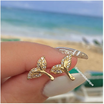 Mermaid Tail Studs - Gold or Silver
