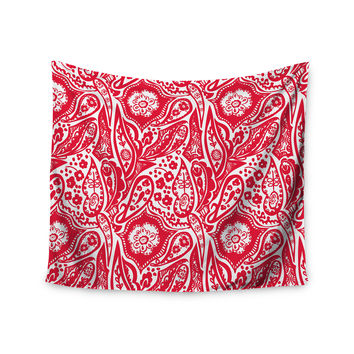 """Agnes Schugardt """"Paisley"""" Paisley Red Wall Tapestry"""