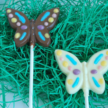 Butterfly Chocolate Suckers (10) - Favor / Lolli / Lollipop / Spring / Easter / Organic Dark Chocolate
