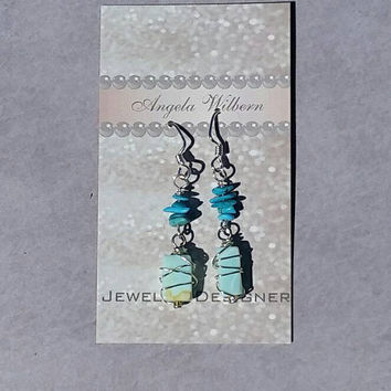 Turquoise and Amazonite earrings, wire wrapped earrings, green earrings, Turquoise earrings,Turquoise Nugget, southwest earrings,