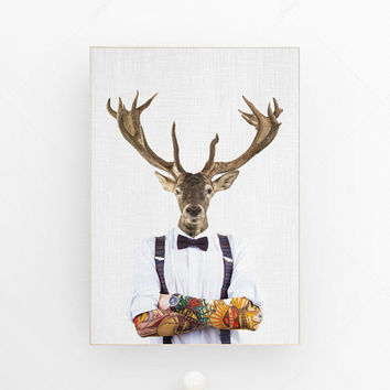 Deer art print hipster decor hipster art print woodland animal deer antlers scandinavian modern wall art woodland animal decor art photo mix