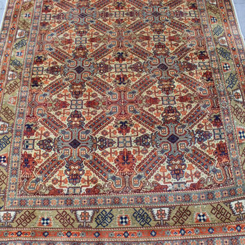 "Turkish Area Rug Carpet, Vintage Handmade Anatolian Floor Home Decor Carpet Rug, Wool Decorative Shirwan Carpet Rug, 210x145cm,84""x58"""