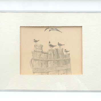 Seagulls Framed / Five Gulls Vintage Art Print by Jo Ko, Joseph Koch North Carolina Beach