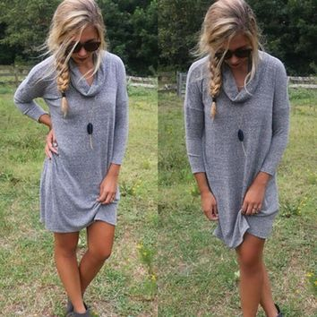 Grey Plain Ruffle Collar Round Neck Long Sleeve Casual Mini Dress