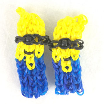 Minion Bracelets Set of Two Handmade Rainbow Loom Despicable Me Perfect for the new movie