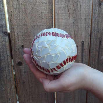 Mosaic Baseball, Sports Ball, Sports Gift, Baseball Decor, Mosaic Orb, Mosaic Ball, Home Decor