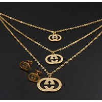 GUCCI Stylish Ladies Personality Earrings Necklace Two Piece Set