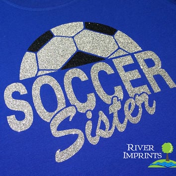 SOCCER SISTER sparkly glitter tee shirt, choose from 3 shirt styles
