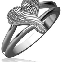 Small Angel Heart Wings Ring, Wings Of Love, 12mm in Sterling Silver size 9