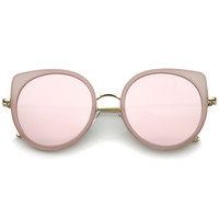 Women's Slim Round Flat Mirror Lens Cat Eye Sunglasses A815