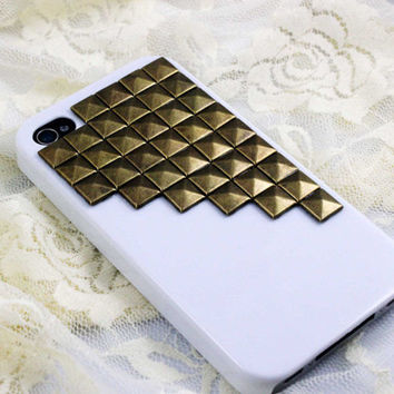 Bronze Pyramid Studded White Faux Leather iPhone Case for iPhone 4 OR 5 Snap Case
