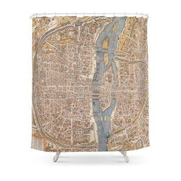Society6 Vintage Map Of Paris (1550) Shower Curtains