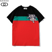 GUCCI Tide brand fashion stickers three little pig pattern color matching short-sleeved T-shirt Black