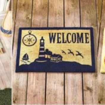 Welcome Mat Coastal Beach Flip Flops Light House Durable Coir Sea Ocean NEW