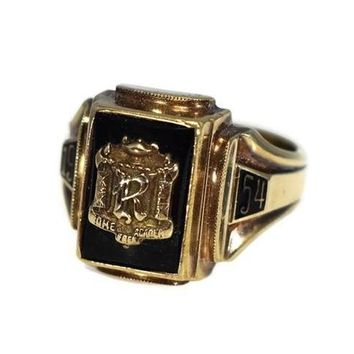 Rome Free Academy RFA Class Ring 10k Gold Onyx 1954 Dieges and Clust
