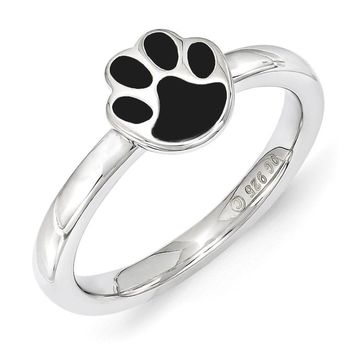 Sterling Silver Stackable Expressions 7mm Black Enamel Paw Print Ring