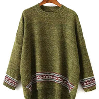 Olive Drab Bat Sleeve Mix Folk Knit Dipped Back Sweater
