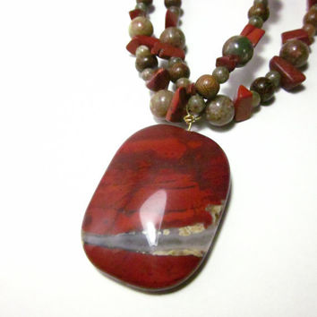 Rich Chunky Red Jasper, Autumn Jasper and Natural Wood Beaded Necklace With Large  Jasper Pendant Dark Red, Maple, Avocado, Pumpkin Tones